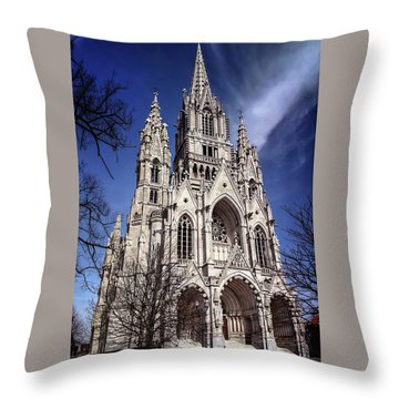 Throw Pillow featuring the photograph Notre Dame De Laeken In Brussels  by Carol Japp