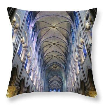 Notre Dame De Paris - A View From The Floor Throw Pillow
