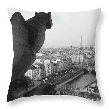 Notre Dame Gargoyle Throw Pillow by Victoria Lakes