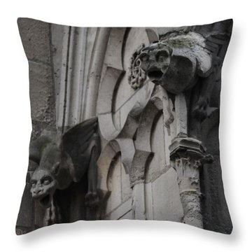 Notre Dame Grotesques Throw Pillow