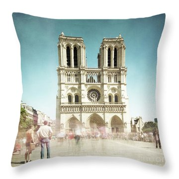 Throw Pillow featuring the photograph Notre Dame by Hannes Cmarits