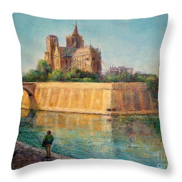 Notre Dame In Sunshine Throw Pillow by Jill Musser