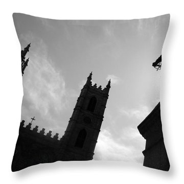 Throw Pillow featuring the photograph Notre Dame Silhouette by Valentino Visentini