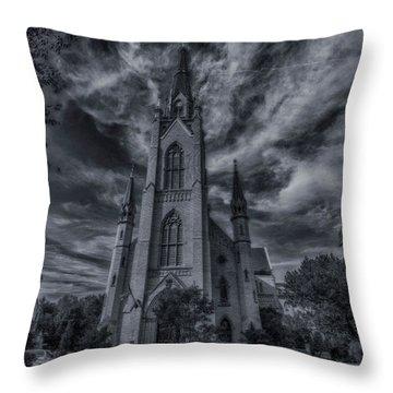 Notre Dame University Church Throw Pillow by David Haskett