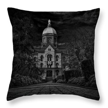 Throw Pillow featuring the photograph Notre Dame University Golden Dome Bw by David Haskett