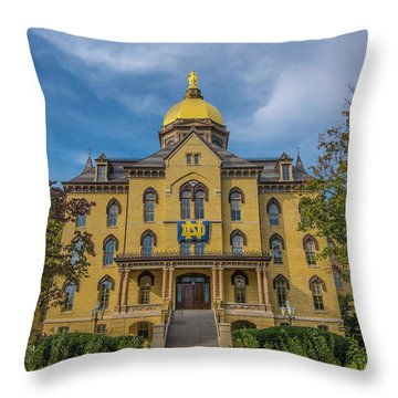 Throw Pillow featuring the photograph Notre Dame University Golden Dome by David Haskett