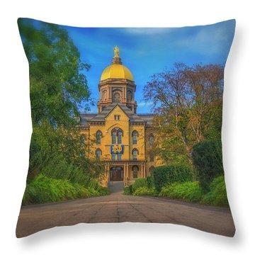 Notre Dame University Q2 Throw Pillow by David Haskett