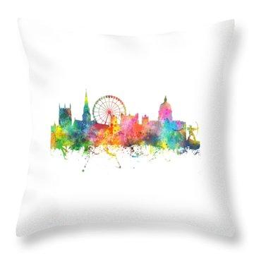 Nottingham  England Skyline Throw Pillow