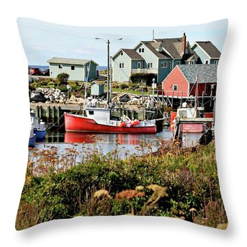 Nova Scotia Fishing Community Throw Pillow