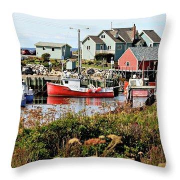 Nova Scotia Fishing Community Throw Pillow by Jerry Battle