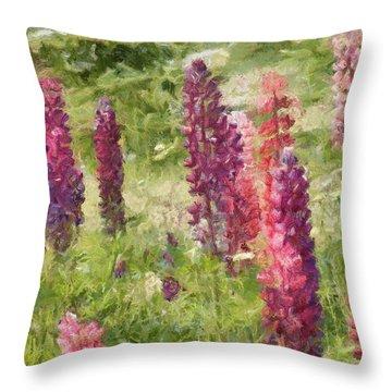 Nova Scotia Lupine Flowers Throw Pillow by Jeff Kolker