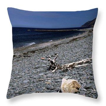 Nova Scotia Pebble Beach Throw Pillow by Sally Weigand