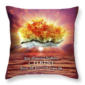 November Birthstone Citrine Throw Pillow