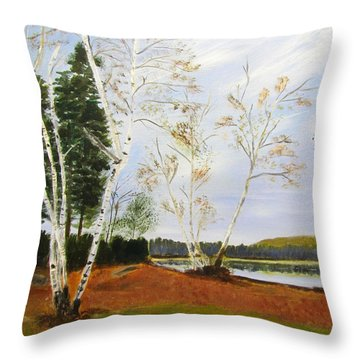 Throw Pillow featuring the painting November Day by Linda Feinberg