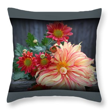 November  Flowers - Still Life Throw Pillow by Dora Sofia Caputo Photographic Art and Design