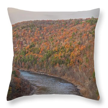 November Golden Hour At Hawk's Nest Throw Pillow
