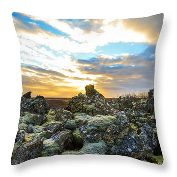 November Light Over Icelandic Lava Field Throw Pillow