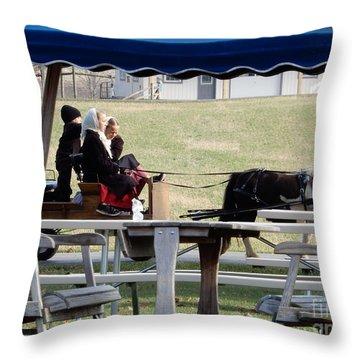 November Pony Cart Fun Throw Pillow