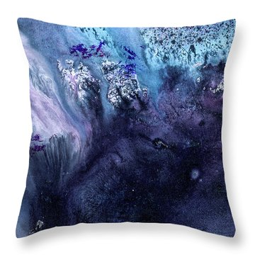 November Rain - Contemporary Blue Abstract Painting Throw Pillow