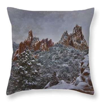 Throw Pillow featuring the photograph November Snow - Garden Of The Gods by Ellen Heaverlo