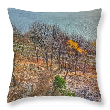 November Snow On Casco Bay Throw Pillow
