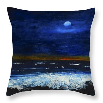 November Sunset At The Beach Throw Pillow