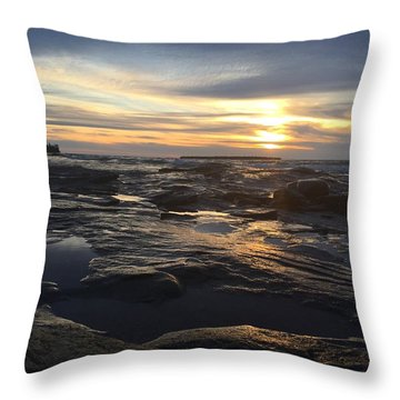 Throw Pillow featuring the photograph November Sunset On Lake Superior by Paula Brown