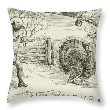 November   Vintage Thanksgiving Card Throw Pillow by American School