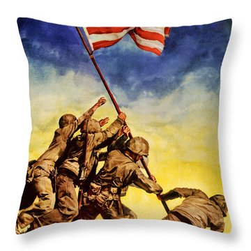 Now All Together Vintage War Poster Restored Throw Pillow
