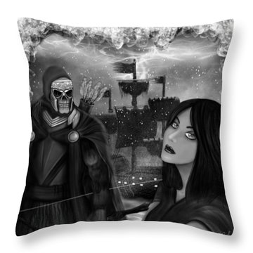 Now Or Never - Black And White Fantasy Art Throw Pillow