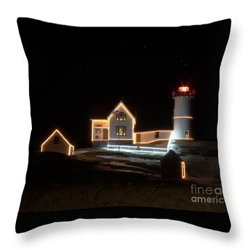 Nubble At Night Throw Pillow