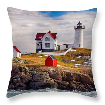 Nubble In Winter Throw Pillow by Tricia Marchlik