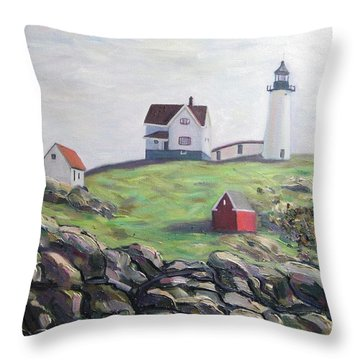 Nubble Light House Throw Pillow by Richard Nowak