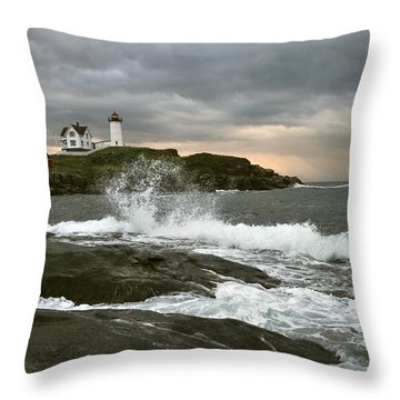 Nubble Light In A Storm Throw Pillow by Rick Frost