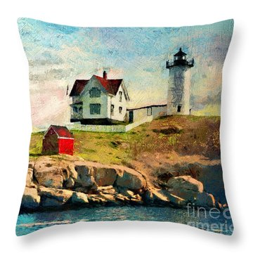 Nubble Light - Painted Throw Pillow