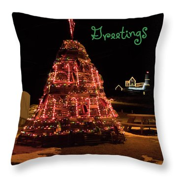 Nubble Light - Season's Greetings Throw Pillow
