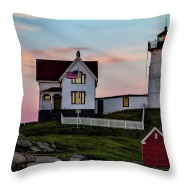 Nubble Lighthouse At Dusk  Throw Pillow