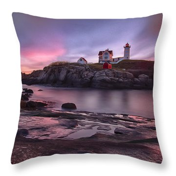 Nubble Lighthouse At Sunrise York Me Throw Pillow by Betty Denise