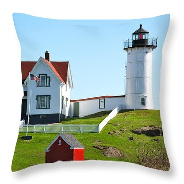 Nubble Lighthouse Throw Pillow by Eric Tressler