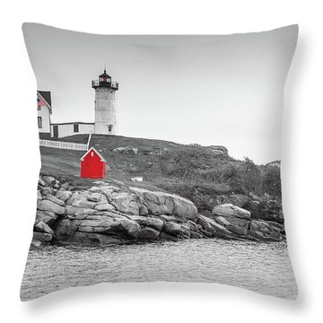 Nubble Lighthouse In Color And Black And White Throw Pillow