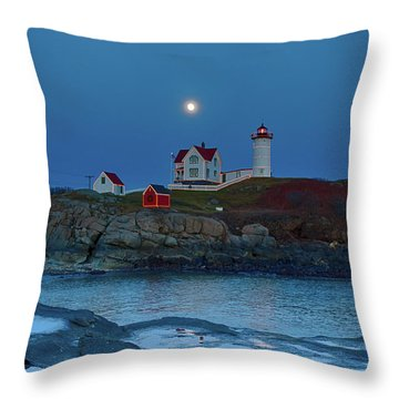 Throw Pillow featuring the photograph Nubble Lighthouse Lit For Christmas by Jeff Folger