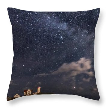 Nubble Lighthouse Under The Milky Way Throw Pillow