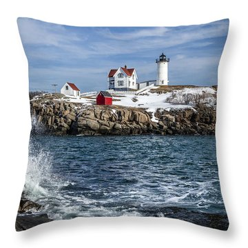 Nubble Lighthouse Winter Throw Pillow