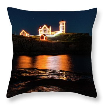 Throw Pillow featuring the photograph nubble Lighthouse, York Maine by Jeff Folger