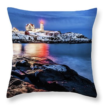 Nubble Lights Throw Pillow by Robert Clifford
