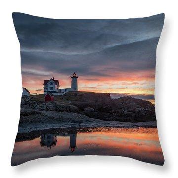 Nubble Sunrise Reflection Throw Pillow