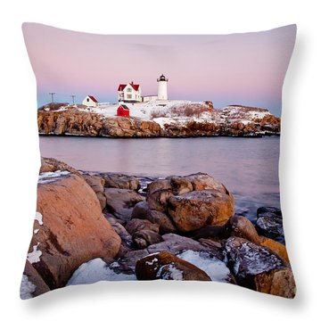 Nubble Winter Dusk Throw Pillow by Susan Cole Kelly