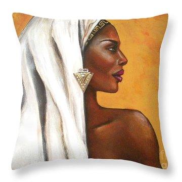 Throw Pillow featuring the painting Nubian Beauty by Alga Washington