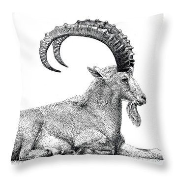 Nubian Ibex Throw Pillow
