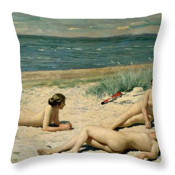Nude Bathers On The Beach Throw Pillow